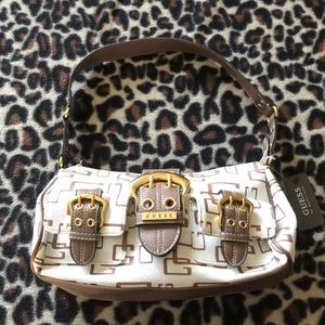 White and brown Guess Purse